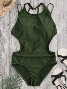 Padded Back Strappy Swimwear ARMY GREEN : One-Pieces M | ZAFUL