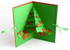 DIY Christmas Cards: Pop-up Christmas Tree Cards Diy Christmas Cards Pop Up, Christmas Angel Crafts, Homemade Christmas Cards, Xmas Cards, Simple Christmas, Homemade Cards, Holiday Cards, Christmas Stencils, Christmas Projects