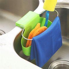 Sink Hanging Storage Bag Strainer Sucker Holder Iron Ring Organizer Draining Faucet Sponge Rack