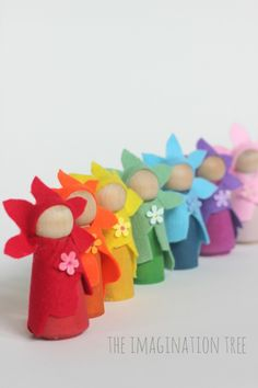 DIY flower fairy wooden peg dolls. So simple, no sew and beautiful as a gift for imaginative play times! Peg Doll bases and wool felt available at Bella Luna Toys.