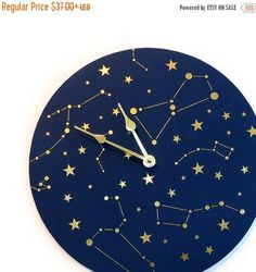 Constellation Wall Clock Navy Blue and Gold Clock by Shannybeebo