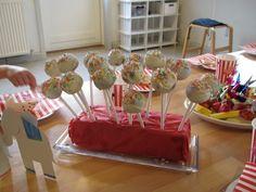 Popcakes til cirkus fødselsdag.