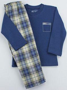 PIjama infantil de Rapife 100% hecho en España. Combina camiseta de punto con pantalón de tela a cuadros.
