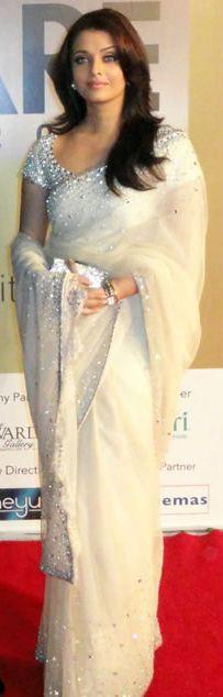 Aishwarya Rai White Saree | For more collection visit www.prafful.com