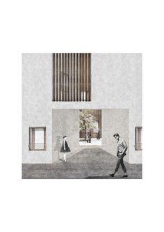 Elia Loupasaki, Kingston University, MArch.  'The oblique' | Housing Project | Castle Green park, Dagenham | Facade study