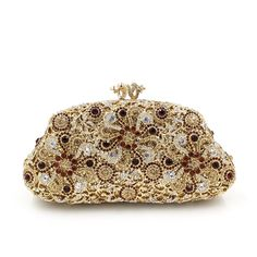 Chirrupy Chief®Floret Kiss Lock Flower evening purse Bling Box Crystal  Clutch Evening Bag   e98b81a593d9