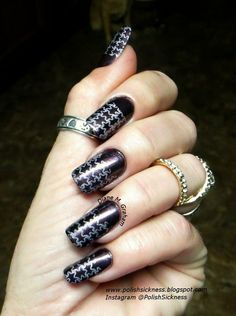 Half Moon and Star Nails in black and silver via #polishsickness