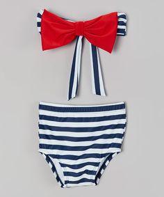 Daisys Swimwear Navy Stripe Bow Bandeau Bikini - Toddler & Girls | zulily