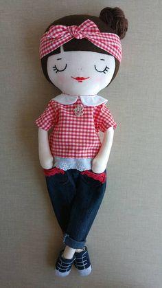 Sophie rag doll cloth doll fabric doll hand made doll