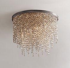 Example of flush mount, think I prefer hanging Athena Crystal Flushmount Smoke