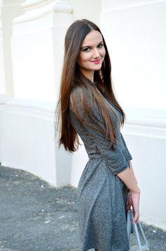 grey, dress, signorinaanita, style, outfit, autumn, fall, brown, long, hair