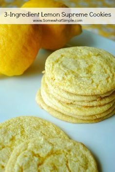 Yep, 3 ingredients in these light lemon cookies