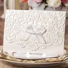 Elegante Blanco Laser Cut Floral Libre de la Impresión Personalizada de La Boda Tarjetas de Invitación con El Sobre 50 unids/lote Envío Gratis