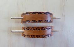 Leather Barrettes with Tasmanian Oak Stick | Tooled Leather Hair Holder | Handmade in Australia (25.00 AUD) by matoirs