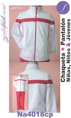 Descarga gratis los Moldes de Conjunto deportivo de chaqueta y pantalón para niñas, niños y jóvenes disponibles en 8 tallas Listas Para Cortar