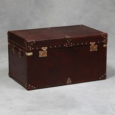Large  Coffee Table  Brown Leather u0026 Brass Travel Trunk & Canvas Leather Storage Trunk ? Chests u0026 Trunks | University u0026 Dorm ...