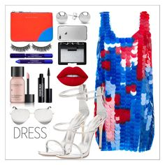 """""""Two tone dress: Red and Blue"""" by joana-st-alves ❤ liked on Polyvore featuring Au Jour Le Jour, Jewelonfire, Comme des Garçons, Giuseppe Zanotti, NARS Cosmetics, By Terry, Perricone MD, Battington, Victoria Beckham and Edward Bess"""