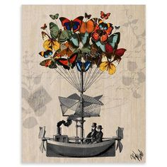 Loopy Lolly - Butterfly Airship, Unframed Art Print, 28x36cm, $25 !!