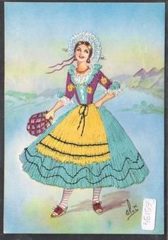 A girl from Lombardy, Italy Folk Costume, Costumes, Sewing Art, Cultural, Archie, Vintage Cards, Traditional Outfits, Nostalgia, Poster