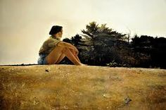 Andrew Wyeth - Sandspit, 1953 (Wyeth's wife, Betsy at Cutler's Cove, Maine)