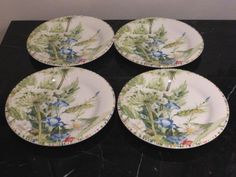 For your consideration is a set of 4 bread & butter or canapé plates by Gien in the Cherry pattern. Bread N Butter, Canapes, Decorative Plates, Cherry, Pottery, France, Tableware, Ebay, Home Decor