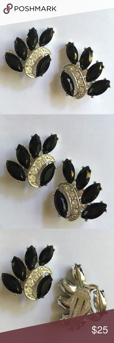 """Sarah Coventry Vintage Clip On Black Earrings From the """"Vienna Night's Collection"""" from 1970's.  Sarah Coventry mark on back as shown. Excellent condition and this pair appears barely worn. Super nice! Sarah Coventry Jewelry Earrings"""