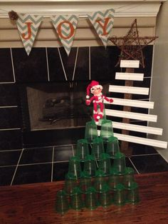 Elf on the Shelf:  green solo cup tree