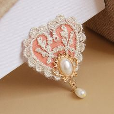 Heart Lace Brooches, with Alloy, Nonwovens, Imitation Pearl and Iron Pin, LightSalmon, 70x50mm