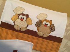 Toalhas de louça corujas e galinhas