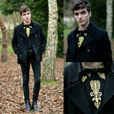 Pea Coat, Cheap Monday Skinny Jeans, Madd Sha Embroidered Sweatshirt, Jack And J Ones Black Bowtie, Black Leather Boots