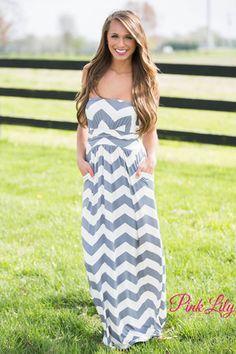 Grey Chevron Maxi Dress CLEARANCE