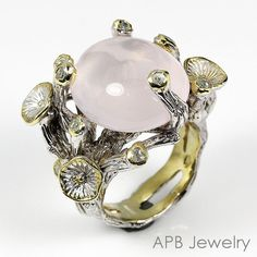 Handmade Fine Art Natural Rose Quartz 925 Sterling Silver Ring Size 7.75/R25928 #APBJewelry #Ring