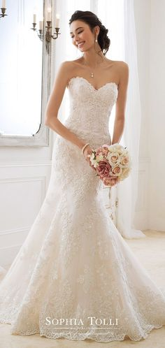 Sophia Tolli wedding dress collection in Sparkly Bridal Strapless Lace Wedding Dress, Fit And Flare Wedding Dress, Sweetheart Wedding Dress, Mermaid Wedding, Bridal Dresses, Wedding Gowns, Lace Dress, Strapless Organza, Lace Mermaid