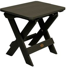 Highwood Folding Adirondack Side Provisions - Recycled eco-friendly synthetic wood in weathered acorn color - Weathered Acorn Patio Side Table, Patio Bar, Picnic Table, Side Tables, Table Furniture, Outdoor Furniture, Black Side Table, Outdoor Tables, Teak