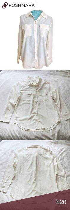 Banana Republic Creme Long Sleeve Button Blouse Beautiful creme blouse by Banana Republic. Perfect condition, no flaws!!! It features a button down front, long sleeves that have cuffs and buttons, a draping flowy body, slightly gathered back, two front breast pockets, polyester fabric, and a thick collar. Would be perfect for dressing up or down; wear with dress pants for work and add jewelry for more formal occasions, or wear with jeans and pair with fun accents for casual looks! Runs…
