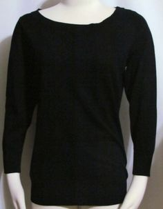 NEW Womens Ladies JOSEPH A Black Stretch Knit 3/4 Sleeve Sweater Top M #JosephA #ScoopNeck #Versatile