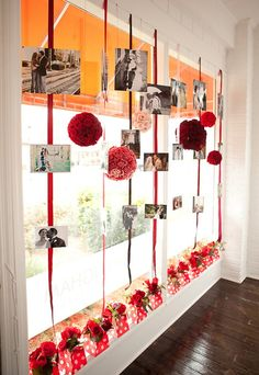 Ribbon- wall covering. Hang words to the beer cheer next to the bar. Instead of flower balls- hang yarn puffs in blue and white??