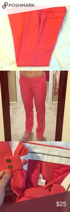 """Salmon coral dress pants Beautiful straight pant dress/business pants. Inseam is 31"""". Tag says 45% polyester/45% rayon/6% cotton/3% spandex, dry clean. These are freshly dry cleaned and absolutely GORGEOUS. They just don't fit me anymore but I wish they did :) LOFT Pants Straight Leg"""