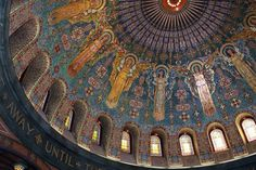 Lakewood Memorial Chapel, Minneapolis Minnesota. The interior was inspired by the mosaic design of the Basilica San Marco in Venice and created by New York designer Charles Lamb. The designs were created in his studio, then six of Italy's best mosaic artists created the more than 10 million mosaic pieces in Italy, which they then assembled personally inside the chapel in Minneapolis. Each mosaic tile is no bigger than a fingernail.