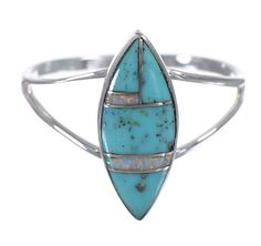 Southwest Turquoise Opal Sterling Silver Ring Size 6-3/4 YX83032