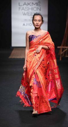 Mekhela Chador by Sanjukta Dutta - Lakme Fashion Week - SR 17 - 24 India Fashion Week, Lakme Fashion Week, Traditional Sarees, Traditional Dresses, Assam Silk Saree, Mekhela Chador, Elegant Saree, Indian Couture, Beautiful Saree