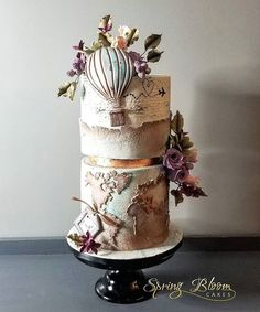 Winsom map and hot air balloon cake / Travel Gorgeous Cakes, Pretty Cakes, Cute Cakes, Amazing Cakes, Crazy Cakes, Fancy Cakes, Cake Icing, Eat Cake, Cupcake Cakes