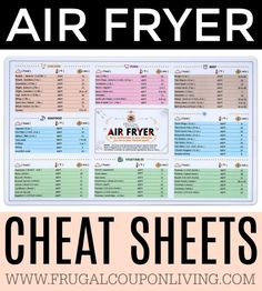 Fryer Cheat Sheets plus Cooking nad Baking Hacks and Tips - Time Savers and Shortcuts. Fryer Cheat Sheets plus Cooking nad Baking Hacks and Tips - Time Savers and Shortcuts. Air Fryer Cooking Times, Cooks Air Fryer, Air Fryer Oven Recipes, Air Fryer Dinner Recipes, Recipes For Airfryer, Recipes Dinner, Power Air Fryer Recipes, Air Fryer Recipes Potatoes, Convection Oven Recipes