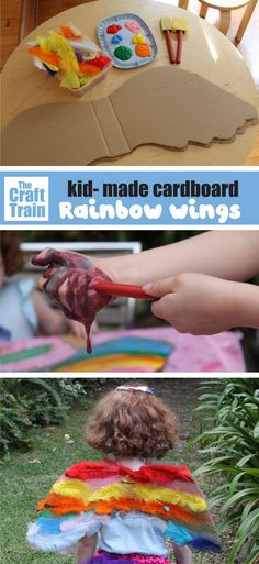Cardboard wings craft project for kids to make and wear for dress up play! This is a fun recycling craft idea for preschoolers Recycled Crafts Kids, Craft Projects For Kids, Crafts For Kids To Make, Craft Activities For Kids, Preschool Crafts, Craft Kids, Preschool Ideas, Activity Ideas, Kids Crafts