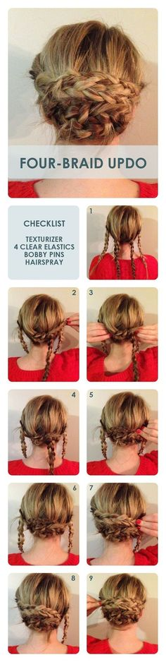 Four Braid Bun Updos: Updo Hairstyle Tutorial. this looks super easy actually (… Four Braid Bun Updos: Updo Hairstyle Tutorial. this looks super easy actually (I'm sure its not as simple as it looks. Lol) but I think this is… Continue Reading → Updo Hairstyles Tutorials, Cool Hairstyles, Hairstyle Ideas, Hair Ideas, Wedding Hairstyles, Hairdos, Hairstyles 2018, Easy Braided Hairstyles, Pinterest Hairstyles