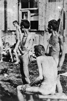 Prisoners of the Buchenwald concentration camp are kept naked while waiting for surgery, April 16, 1945 Photo credit: Jules Rouard — at Buchenwald concentration camp.