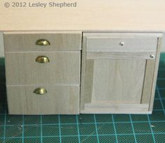 Build Custom Doll's House Kitchen Cabinets: Modern Three Drawer Base Cabinets with Opening Drawers