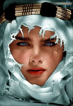 "Brooke Shields, colorized by Alex Lim from a promo still of her 1983 movie ""Adventures in the Sahara"" Beautiful Muslim Women, Beautiful Hijab, Gorgeous Eyes, Pretty Eyes, Brooke Shields, Arab Girls, Model Face, Beauty Women, Pure Beauty"
