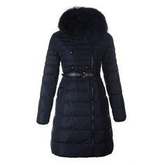 Women Moncler Navy Herisson Fashion Fur Collar Long Parka
