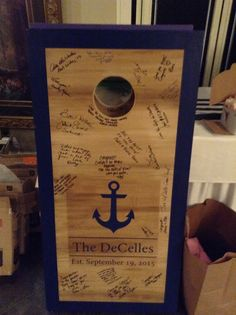 Custom Corn hole boards that guests also sign!